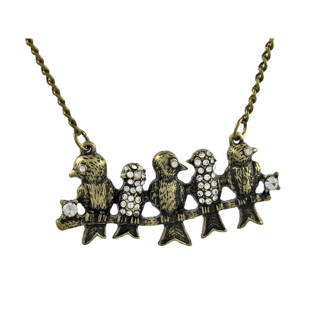 Antiqued Brass Finish Rhinestone Accented Birds On Womens Pendant Necklaces