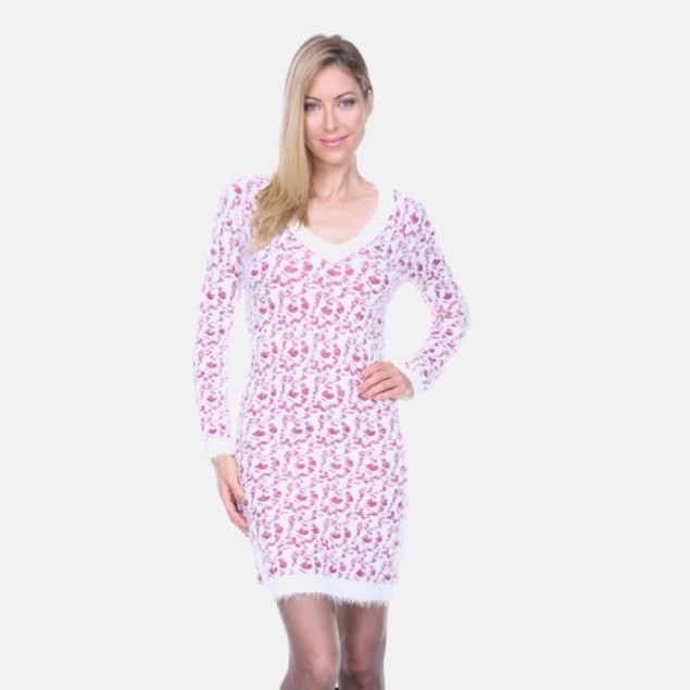 White Mark Fuchsia Leopard Sweater Dress