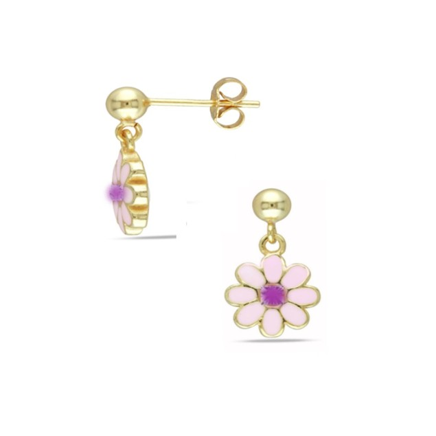 18KGP Light Pink Enameled Flower W/ Cubic Zirconia Dangling Post Earrings