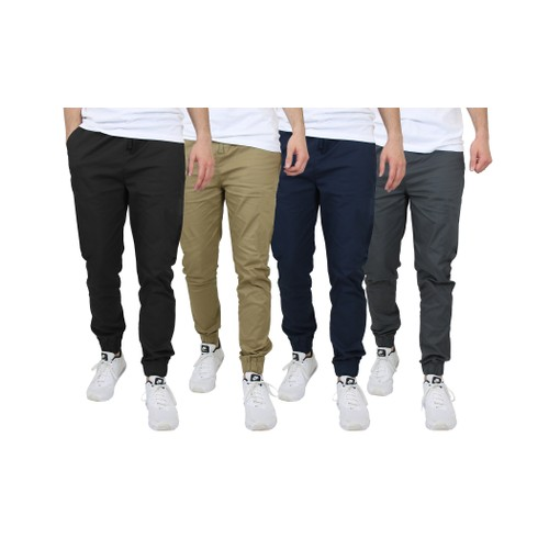 2-Pack Men's Slim-Fit Classic Cotton Stretch Jogger Pants (Sizes, S to 2XL)