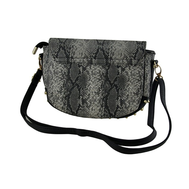 Faux Snakeskin Embossed Studded Handbag Womens Shoulder Handbags