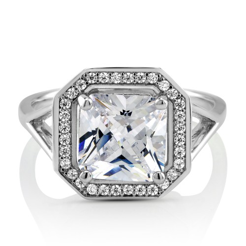 Square Cubic Zirconia Engagement Ring Band