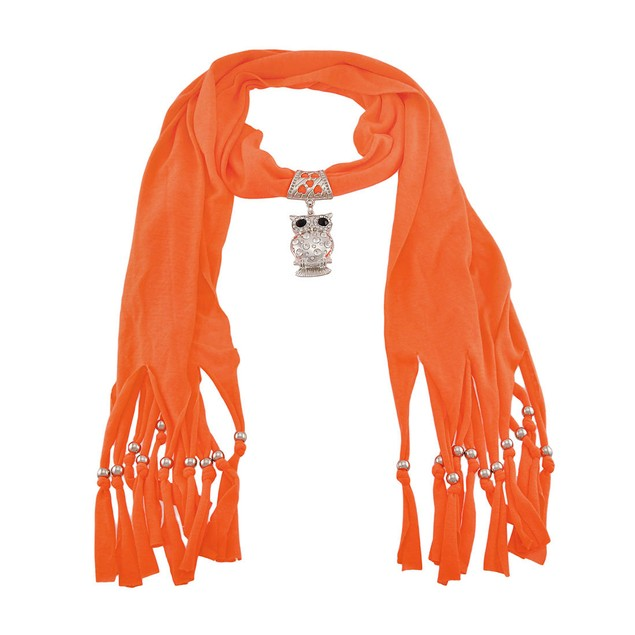 Neon Orange Rhinestone Owl Scarf and Pendant