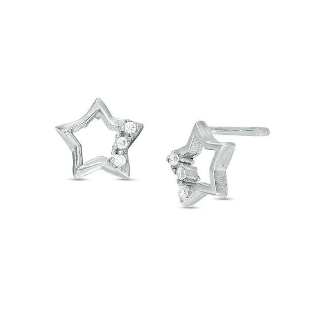 Child's Cubic Zirconia Open Star Stud Earrings in Sterling Silver