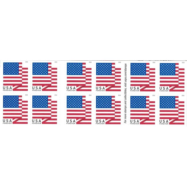 100-Pack USPS Forever Stamps - 2018 U.S. Flag or Patriotic Spiral