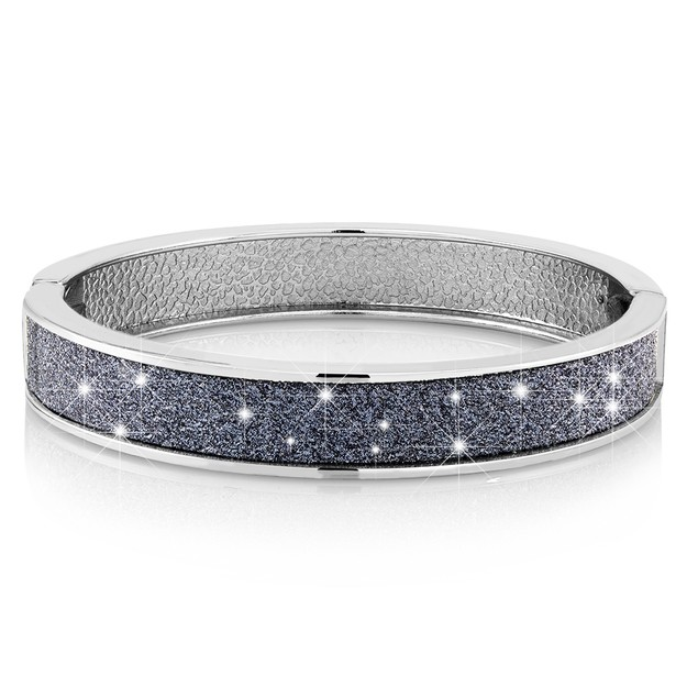 Diamond-Finish Glitter Bangle Bracelet