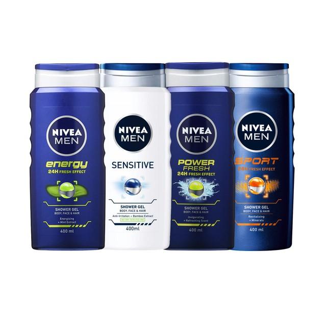 Nivea Men 3-in-1 Shower Gel, 400ml (Pack of 8)