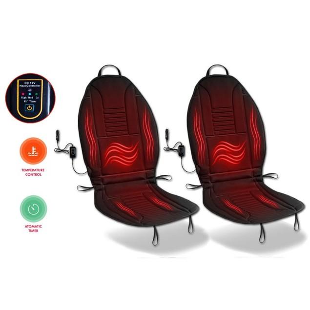 Zone Tech Heated Car Seat Chair Cushion Warmer Pad Cover 45 Minute Timer