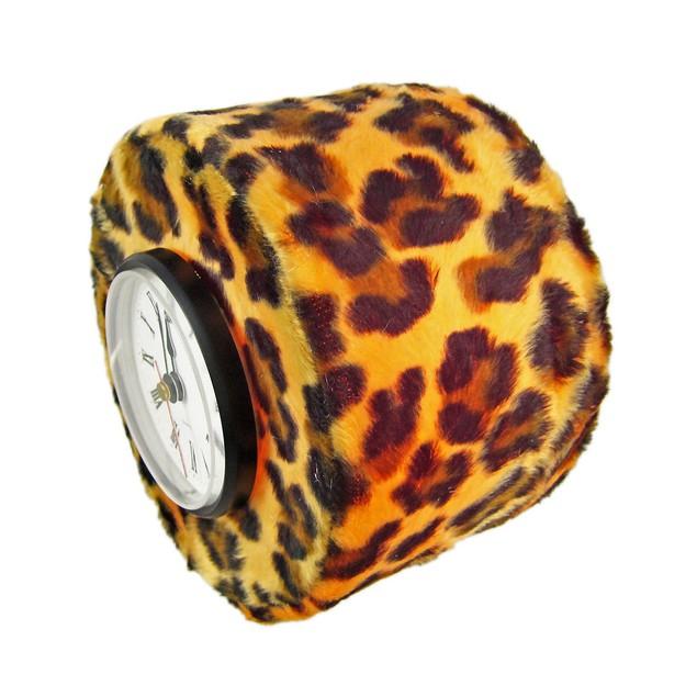 Faux Fur Leopard Print Accent Light Desk Clock Desk Clocks