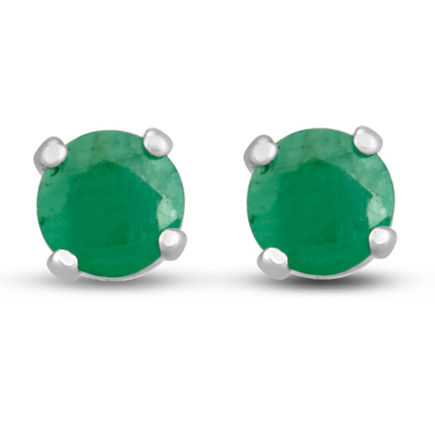 1/2ct Emerald Stud Earrings in Sterling Silver