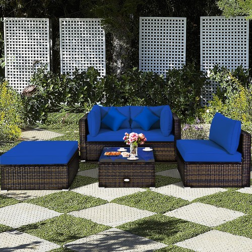 Costway 5PCS Outdoor Patio Rattan Furniture Set Sectional Conversation W/Re