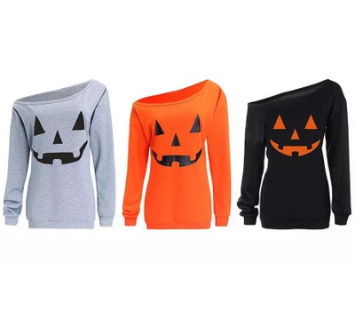 Haute Edition Women's Off-Shoulder Slouchy Halloween Pumpkin Graphic Tee with Plus Sizes Was: $29.99 Now: $18.99.