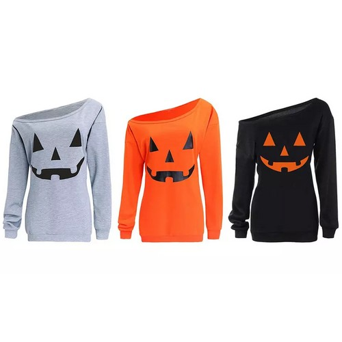 Haute Edition Women's Off-Shoulder Slouchy Halloween Pumpkin Graphic Tee with Plus Sizes