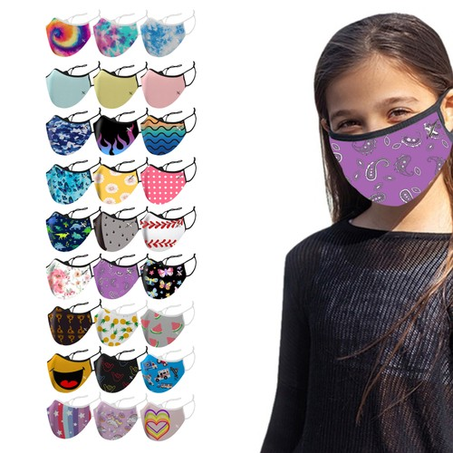 3-Pack Two-Layer Reusable Back To School Kids Face Mask With Adjustable Earloop