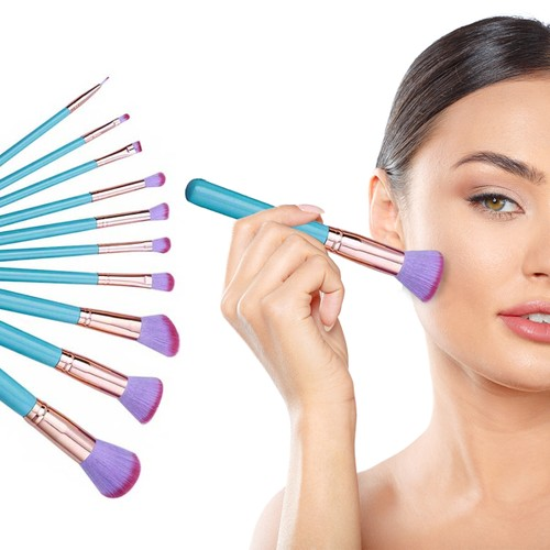 10-Piece :Professional  Mermaid Inspired  On The Go  Makeup Brush Set