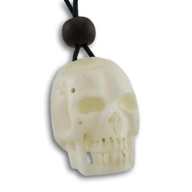 Carved Bone Skull Adjustable Slider Cord Necklace Mens Pendant Necklaces