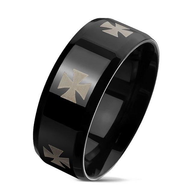 Iron Cross Engraved Around Black Pvd Beveled Edges Stainless Steel Rings