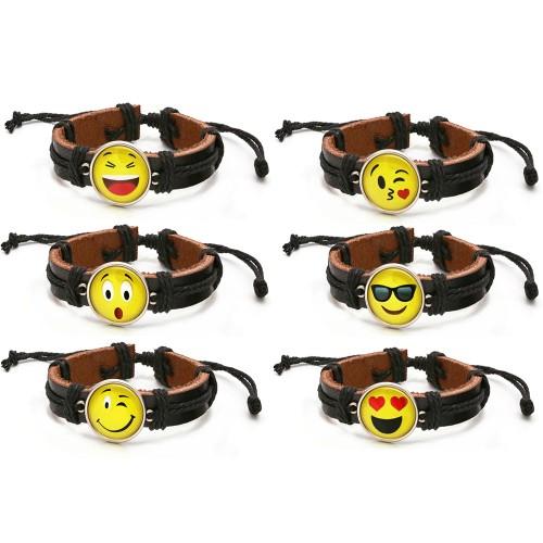 6-Pack Unisex Brown leather Drawstring Emoji Bracelet-Multiple Styles