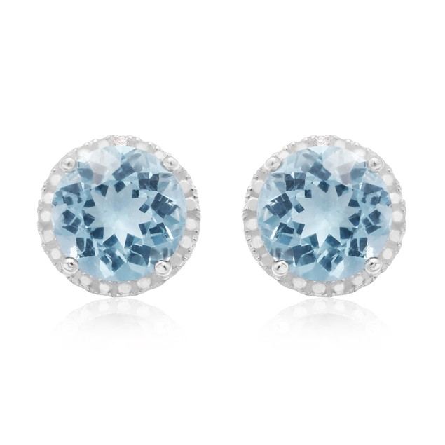 Sterling Silver 9 Carat Blue Topaz Halo Stud Earrings