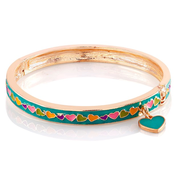 Kids Enamel Hearts Bangle Bracelet