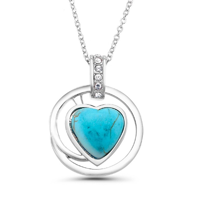 18ct White Gold Plated Genuine Turquoise Drop Necklace - 2 styles
