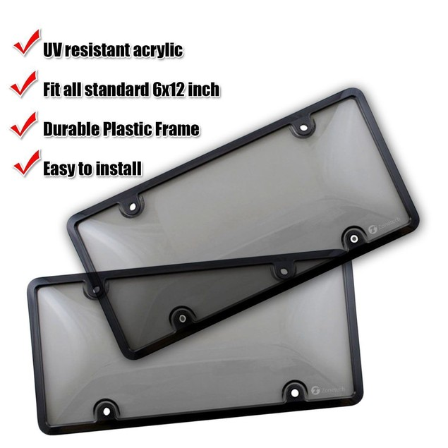 Zone Tech Clear Tinted Smoked Tag License Plate Cover and Frame Truck Car