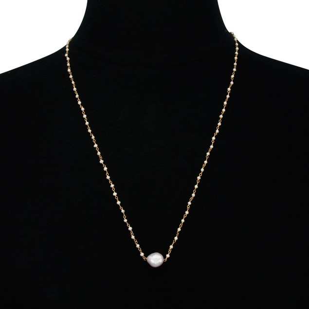 "24"" Gold Tone Dainty Pearl Strand Necklace"