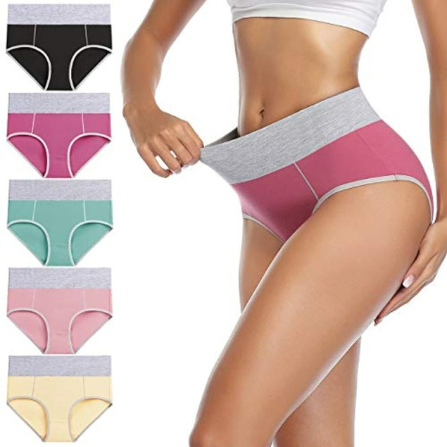 6-Pack Women's Cotton Mid-high Waisted Panties (M-5X)