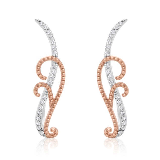 Rose Tone Sterling Silver 1/5 Carat Diamond Filigree Ear Climbers