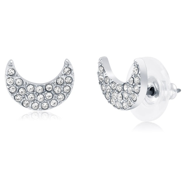 Crescent Moon Crystal Stud Earrings