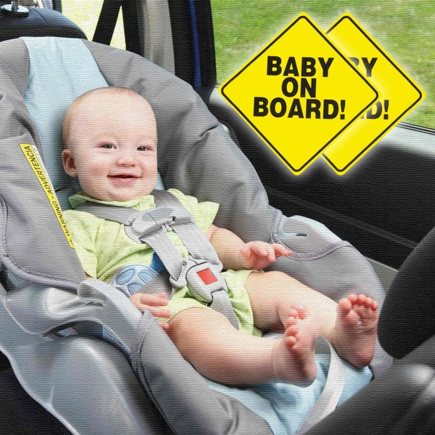 "Zone Tech 2x Convenient Reusable ""Baby on Board"" Vehicle Car Sticker"