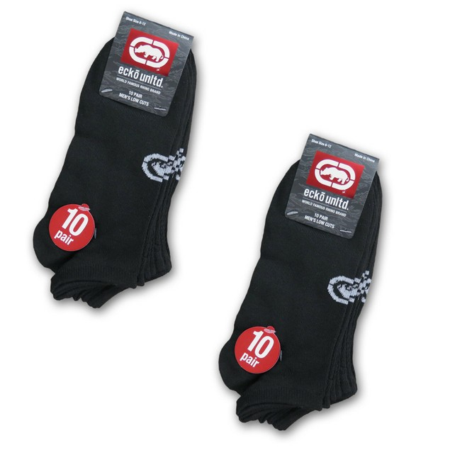 20-Pairs Ecko Men's Quick Dry No-Show Athletic Socks- 3 Styles