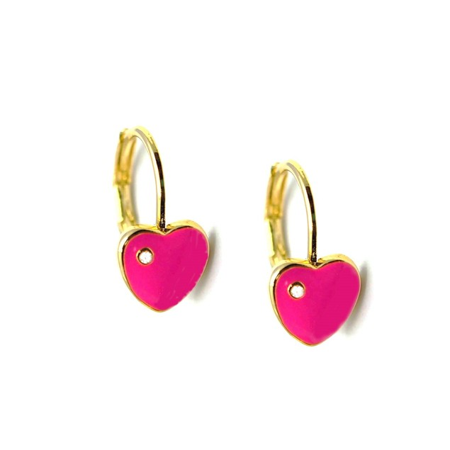 18KGP Heart Shape Hot-Pink Enameled & Cubic Zirconia Children's Leverback Post Earrings