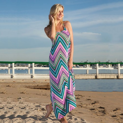 White Mark Pink Chevron Maxi Dress