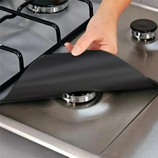 4-Pack Reusable Non-Stick Liners for Gas Stovetops