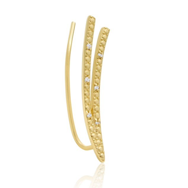 Gold Tone Diamond Accent Double Row Ear Climbers