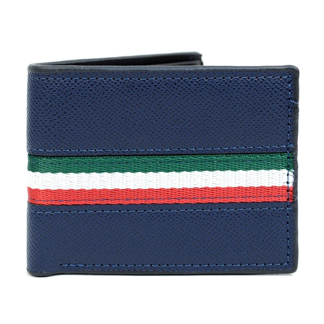 Bi-FoldLeather Wallet with Striped Decoration