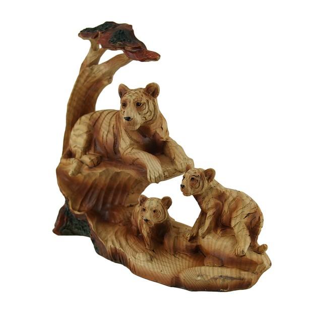Tiger's Pride Tiger Family Under Acacia Tree Faux Statues
