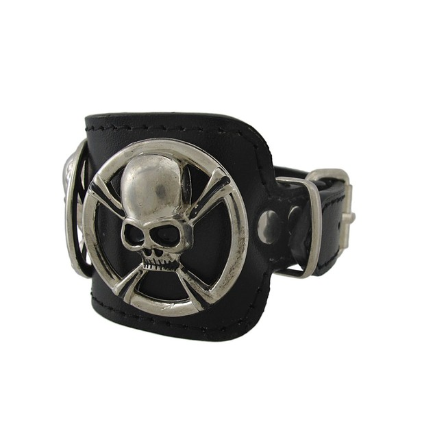 2 Inch Wide Black Leather Chrome Skull And Mens Leather Bracelets