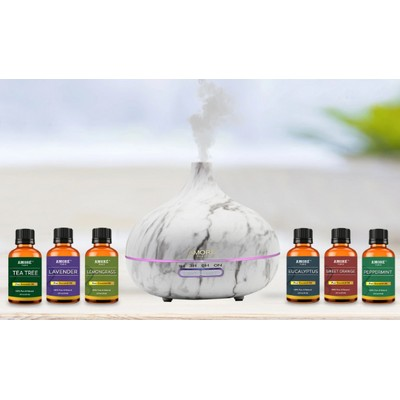 White Marble Aromatherapy Oil Diffuser with Essential Oils Set (7-Pack)