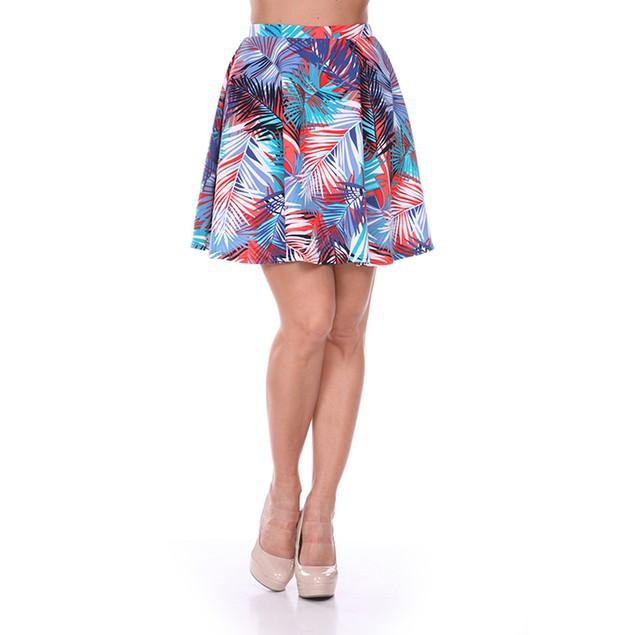 Teal & Coral Leaves Print Skater Skirt