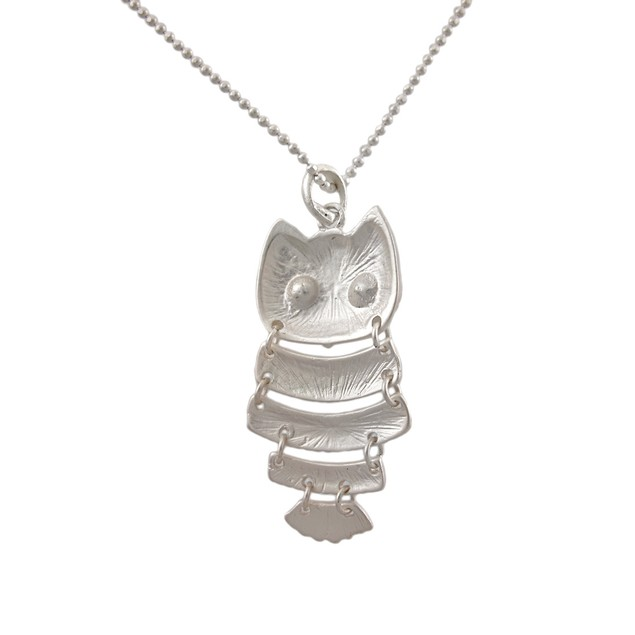 Matte Silver Segmented Owl Pendant With Ball Chain Womens Pendant Necklaces