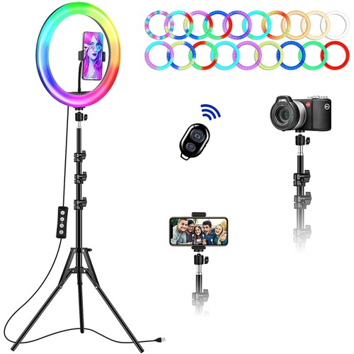 12inch RGB Ring Light with Foldable Tripod Stand and Phone Holder