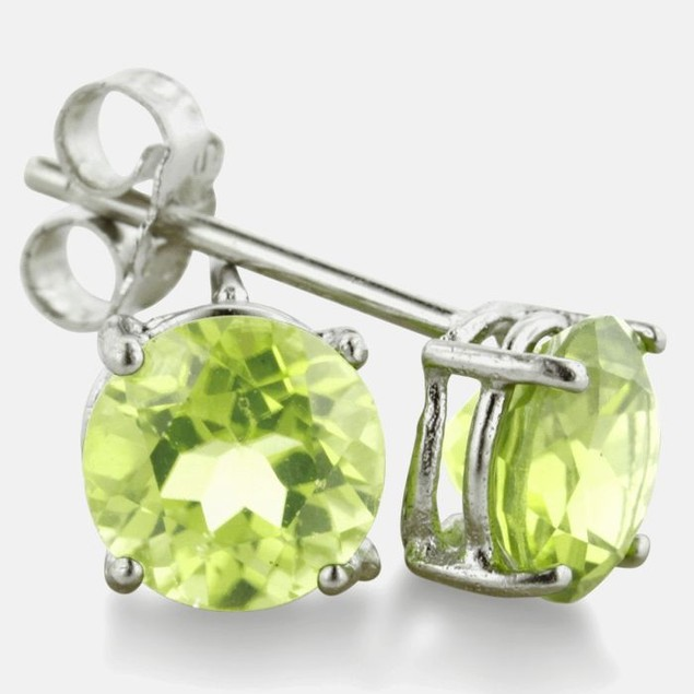2ct Round Peridot Earrings In Sterling Silver