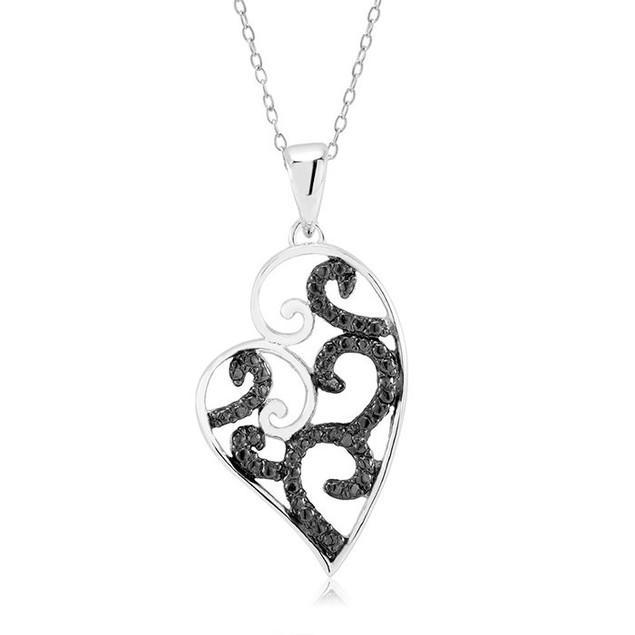 1/10 CTW Diamond Ladies Necklace - Elegant Heart