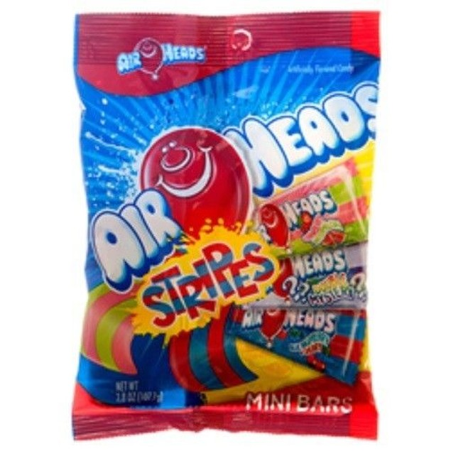 Airheads Stripes Mini Bars Soft & Chewy Candy 3.8oz Bag