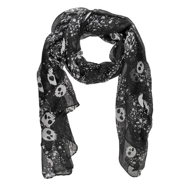 Black / Gray Gothic Skulls Print Lightweight Scarf Womens Fashion Scarves