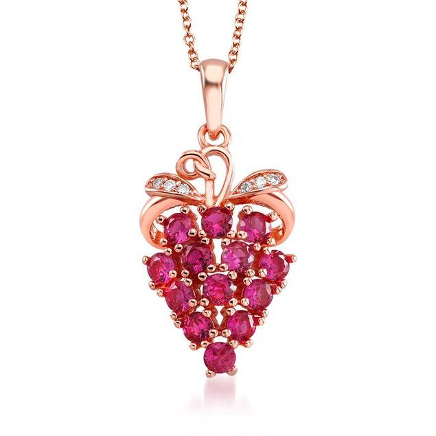 18kt Rose Gold Cubic Zirconia Grapefruit Drop Necklace
