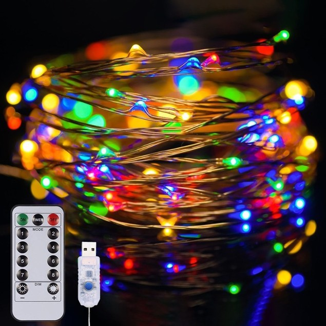 40ft USB Waterproof Remote Control LED Christmas String Lights w/ 8 Modes