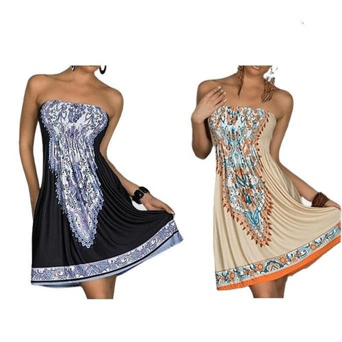 Unique Strapless Paisley Print Sundress - 2 Colors